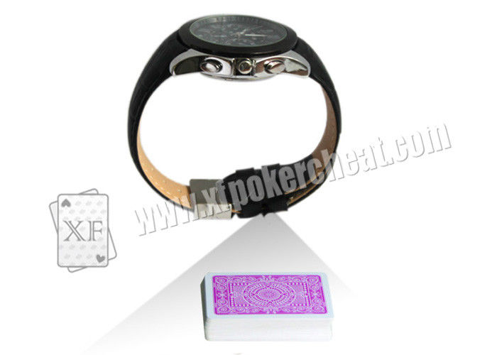 Black Leather Strap Wrist Watch Spy Camera Poker Scanner For Side - Marks Playing Cards